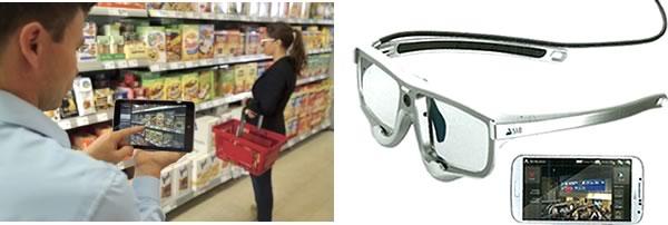 アイトラッキング調査をスーパーの商品棚で行う様子・アイトラッキング用グラス・レコーディングユニット
